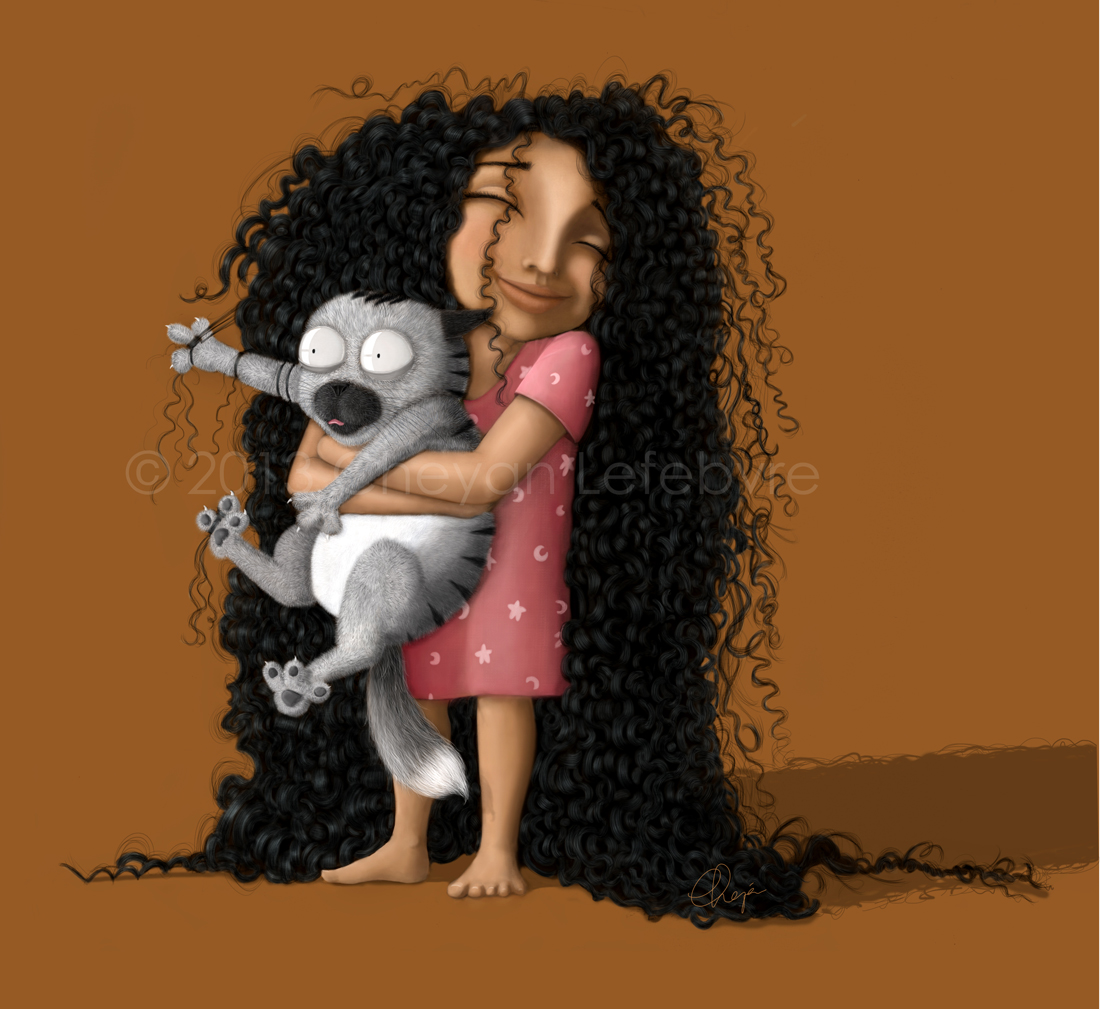 Illustration of a little girl with long curly hair : Good morning kitty by Cheyan - Tall N Curly