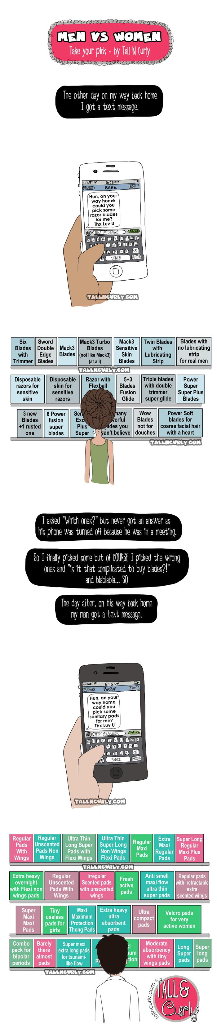 Tall N Curly - Men VS women - Razor blades and sanitary pads