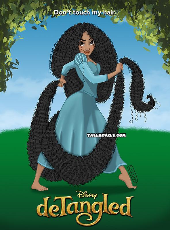 Tall N Curly - Disney Tangled deTangled #stylechallenge