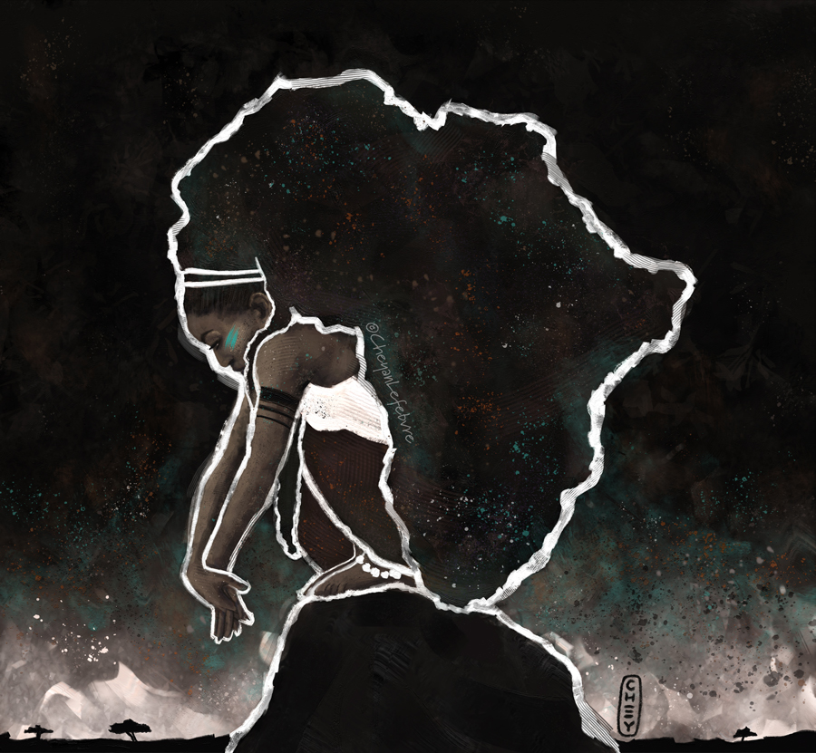 Cheyan Lefebvre - Africa Thinking #drawing #illustration #digitalart #art #painting #digitalpainting #africa #african #goddess #black #naturalhair #curlyhair #afro #bighair