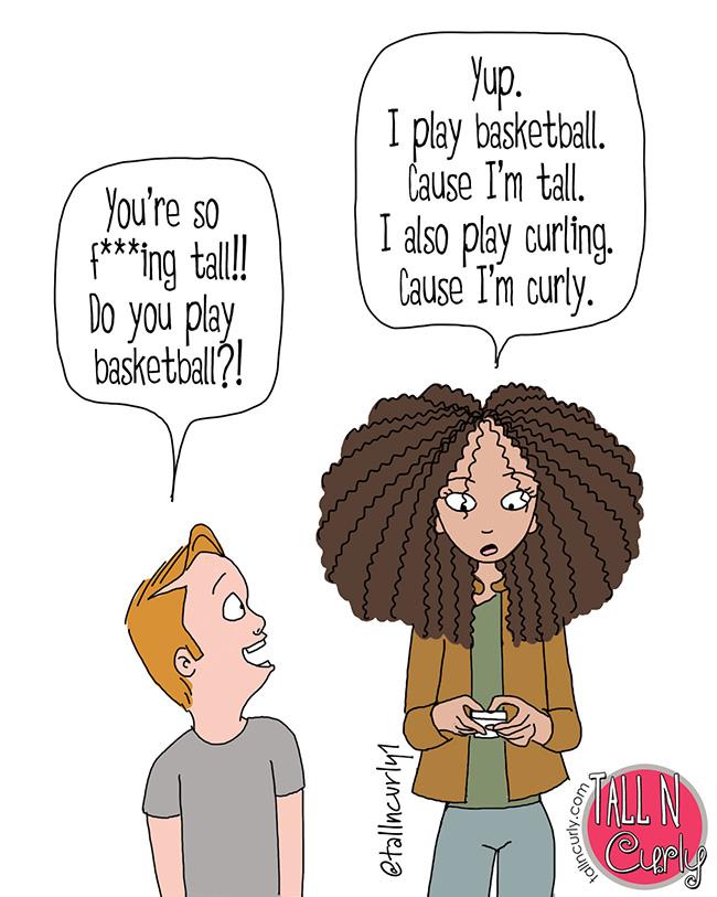 Tall N Curly - #tallgirls #tall #tallpeople #tallpeopleproblems #tallgirlproblems #tallwomen #curlyhair #naturalhair #blackhair #comeback #comics #webcomic #cartoon #standtall #loveyourself #selflove #humor