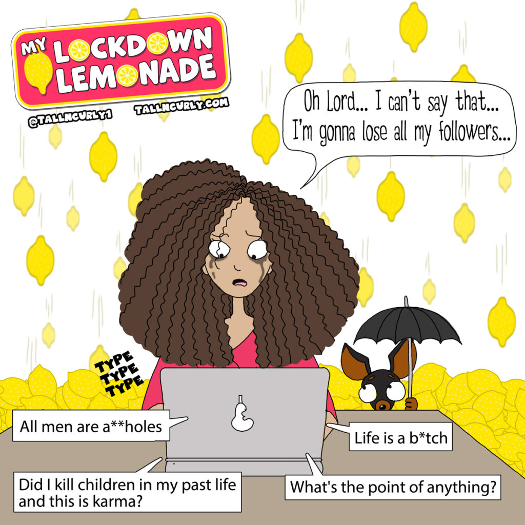 Tall N Curly sitting in front of her computer, crying and trying to write the first post of her My Lockdown Lemonade series